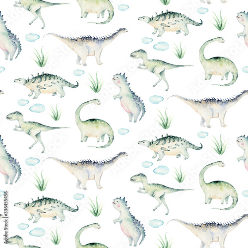 Cute cartoon baby dinosaurs seamless pattern watercolor paper, hand painted dino background texture Jurassic Park . Rex children funny art