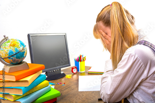 School online, learning at home, high school student crying, covering her face with her hands Canvas Print