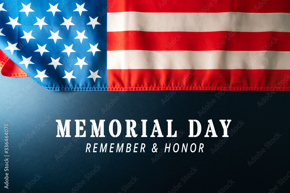 Fototapeta Memorial Day with American flag on blue background