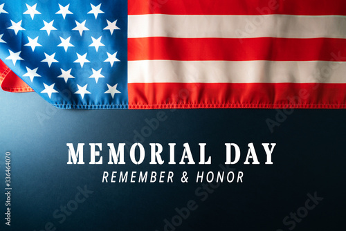 Fototapeta Memorial Day with American flag on blue background obraz