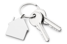 Blank House Shaped Keychain With Two Keys, Isolated On White Background