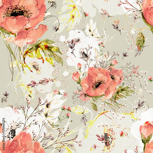 Obraz maki   watercolor-seamless-pattern-of-wild-poppies-and-grass