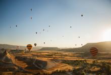 Hot Air Balloons Flying Over Göreme, Cappadocia, Turkey