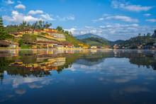 Mirror Lake Of Ban Rak Thai, Or Mae Aw, A Chinese Yunnan Village On Lakeside In Pai District, Mae Hong Son, Thailand