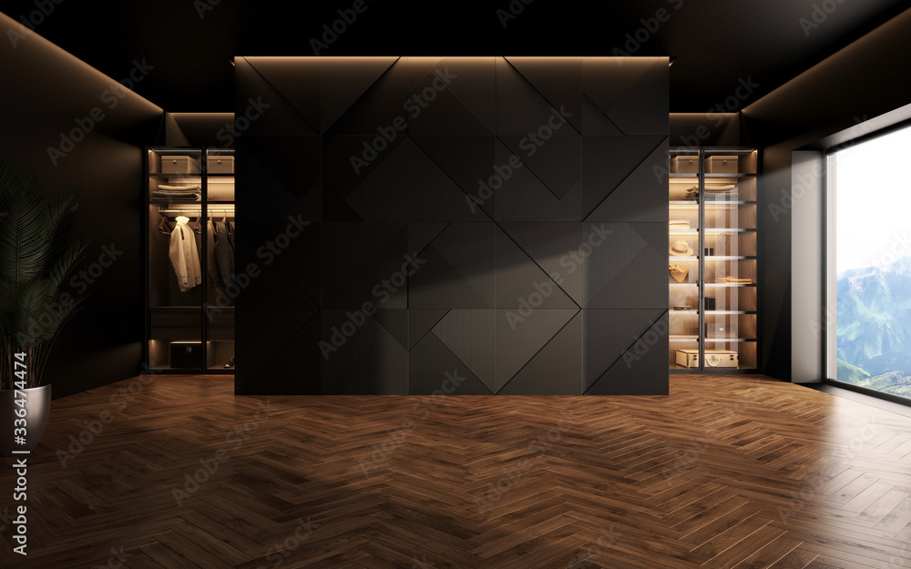 Fototapeta luxury studio apartment with a free layout in a loft style in dark colors. Stylish modern room area with wardrobe and wooden floor parquet. 3d render
