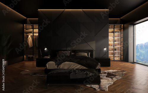 luxury studio apartment with a free layout in a loft style in dark colors Poster Mural XXL