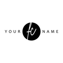 FC Initial Handwriting In Circle Frame Template Design