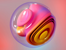 3d Render Of Abstract Art Of Surreal 3d Ball In Organic Curve Round Wavy Smooth And Soft Bio Forms In Pink And Orange Gradient Color Plastic Material With Glass Parts On Colorful Background