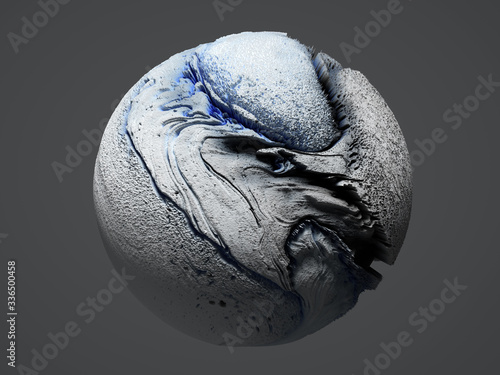Obraz na plátně 3d render of abstract art of surreal 3d stone ball sphere or planet earth, moon,