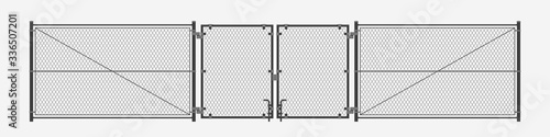 chain link fence on white Tableau sur Toile