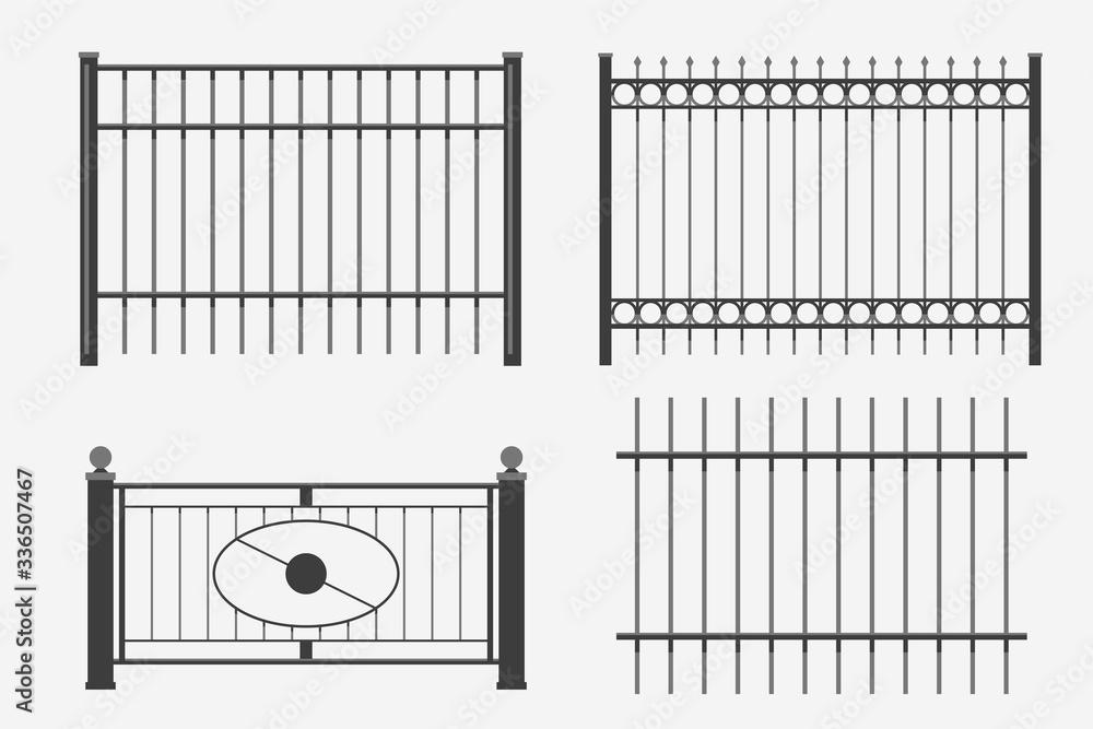 Fototapeta flat design metal fence set