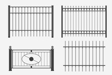 Flat Design Metal Fence Set
