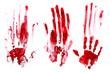 Leinwandbild Motiv Bloody handprints, white background. Red.