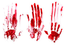 Bloody Handprints, White Background. Red.