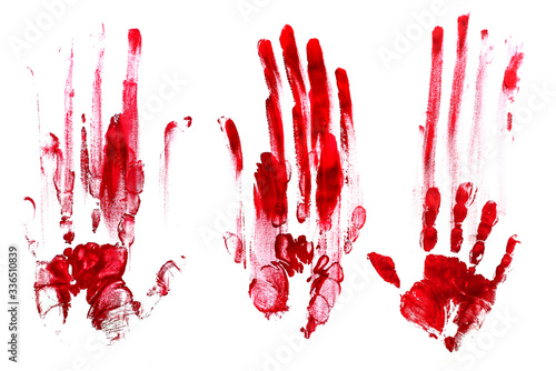 Obraz na plátně Bloody handprints, white background. Red.
