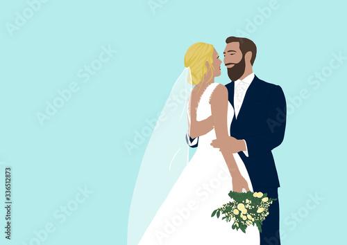 Obraz na plátne Illustration of happy bride and groom at their wedding day