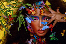 Beautiful African Girl Surrounded By Butterflies