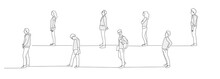 People In Queue Waiting For Something. Keep A Distance. Turn. Line Drawing Vector Illustration.