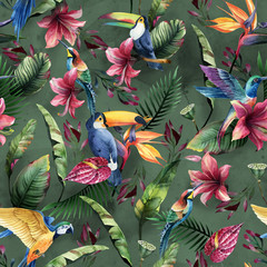 Naklejka Egzotyczne Watercolor seamless pattern, tropical birds, toucan, parrot with flowers and green leaves, yellow and red tropic flowers on green background.