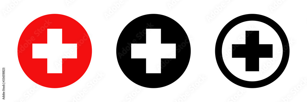 Fototapeta Red cross. Vector isolated icons. Medicine health hospital collection of signs symbol. Vector abstract graphic design. Emergency medicine concept. First aid. Health care.