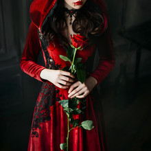 Portrait Closeup Silhouette Gothic Sexy Mystical Vampire Woman. Luxury Long Dress, Hood. Vintage Necklace. Medieval Queen Hold Red Rose In Hands. Black Wavy Hair. Festive Halloween Makeup, Drops Blood