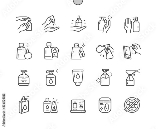 Cuadros en Lienzo Antiseptic Well-crafted Pixel Perfect Vector Thin Line Icons 30 2x Grid for Web Graphics and Apps