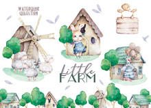 Farms Little City Set. Cute Domestic Pets Watercolor Illustration. Goose Design With Bunny And Sheep