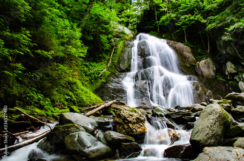 Low angle of beautiful mountain stream with blurred water Wallpaper Mural