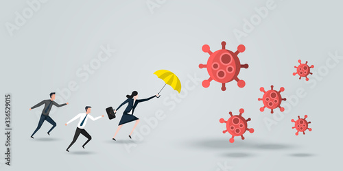 Papel de parede Female Leader Protect His Team, a Business Woman With Yellow Umbrella  Defense Coronavirus 2019 or Covid-19, Business Concept of Teamwork and leadership