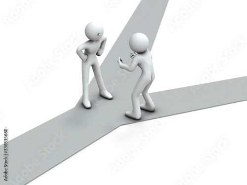 Foto 分岐点で口論する二人のキャラクター