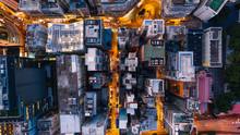Aerial Top View Of Downtown Di...