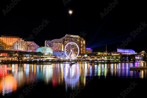 Darling Harbour at night, Vivid Sydney ,Australia Canvas Print