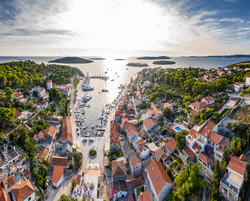 Tela Croatia, Maslinica, 15 September 2019: Drone view point on moored in an equal ro