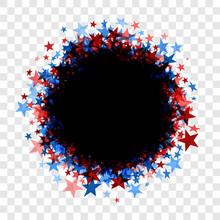 Round Black Frame With Blue And Red Stars.