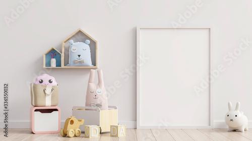 Fototapeta Mock up poster frame in children room,kids room,nursery mockup. obraz