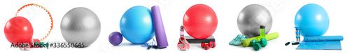 Set of sports equipment with fitness balls on white background Tapéta, Fotótapéta