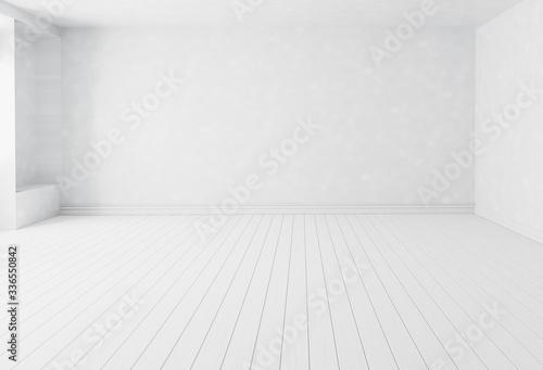 Tela Blank white interior room background ,empty white walls corner and white wood fl