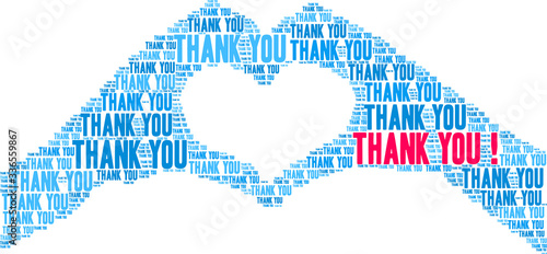 Photo Thank You animated word cloud on a white background.