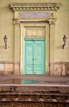 Vertical Image Of A Green Door...
