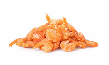 Dried Shrimp Isolated On A Whi...