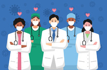 Doctors Is A Hero. Thank You Brave Healthcare Working In The Hospitals And Fighting Together Against Corona Virus Ourbreak Covid 19. All Nurses And Staff You Are The Best, Work With Love.