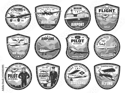 Aviation, air travel, international airport and pilot school vector icons Canvas Print