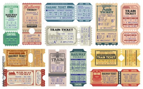 Foto Railway tickets, vector train travel passes, vintage cardboard and carton paper tickets
