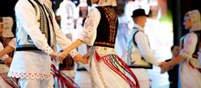 Romanian Traditional National Costumes On Folkloric Dancers