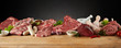 Display of assorted raw meats for barbecuing
