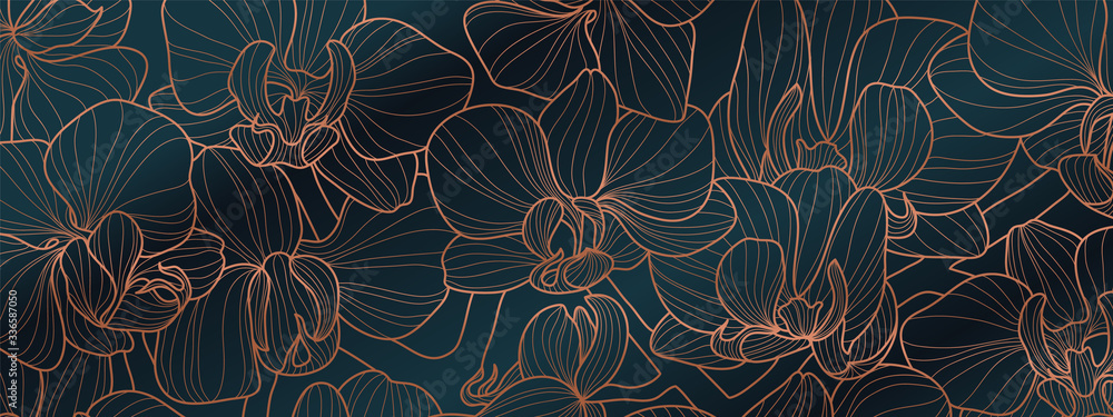 Fototapeta Luxury Orchid wallpaper design vector. Tropical pattern design,Blossom floral,  Blooming realistic isolated flowers. Hand drawn. Vector illustration.
