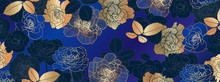 Luxury Golden  And Blue Floral...