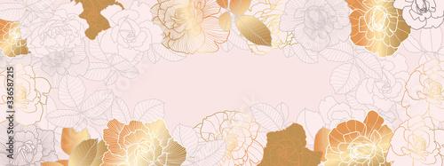 Obraz Luxury Rose gold floral wallpaper design vector, Golden rose pattern design background for wedding, banner, card, cover, and packaging design background. Vector illustration. - fototapety do salonu