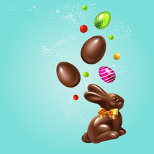 Beautiful Modern Composition Easter Rabbit, 3D Realistic Easter Eggs And Sweets. Chocolate Bunny With Bow And Chocolate And Colored Eggs Holiday Happy Easter Big Hunt Vector Background