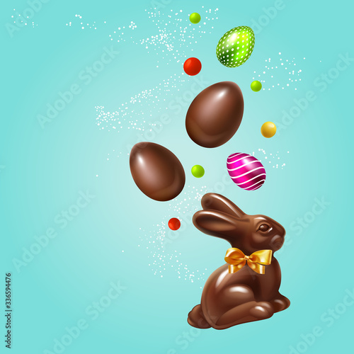 Foto Beautiful modern Composition Easter rabbit, 3D Realistic Easter eggs and sweets